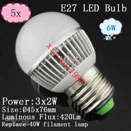 5pcs NEW Arrive Globe Lamp E27 E14 6W Led Lamp Lighting 85V-265V led ball lamp