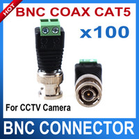 Wholesale 100PCS Mini Coax CAT5 Male BNC Connector To Camera CCTV BNC Video Balun Connector Adapter