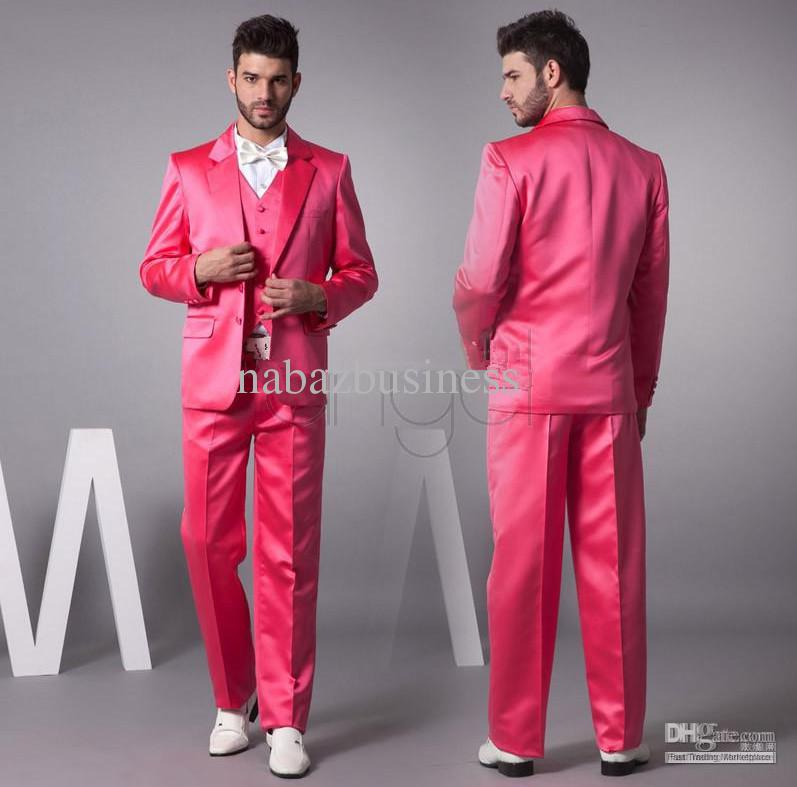 Suits For Men Hot Pink New Groom Tuxedos Satin Material Groomsmen ...