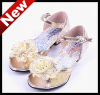 Wholesale Promotion Real PU Leather Grils Soft High Heels Shoes Children s Spring Summer Sandal One Pair