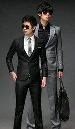 Wholesale New Men Boy Slim Fit Wedding Dress Suit Top Vest Pants Gray Black