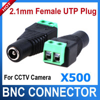 Wholesale 500pcs mm Female CCTV UTP Power Plug Adapter Cable DC AC Camera Video Balun