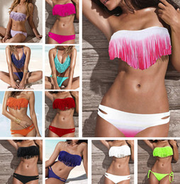 Wholesale Newest Summer Fashion Sexy Women Bikini Swimwear Padded Boho Fringe Tassels Real Class Color P037