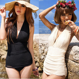 Wholesale Vintage Sexy One Piece Swimsuit Deep V Halter Swimwear Swim Dress Bathing Suits BJN65
