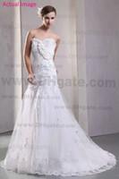 Wholesale Vintage Lace A Line Crystal Wedding Dresses Flower Tulle Lace Up Bridal Gown Applique Chapel Train