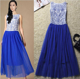 Wholesale Women s Blue and white Embroidered Gauze Dress