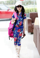 Wholesale EMS free flower outwear pants set Summer girl clothes set Sports suit Children s clothings set