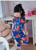 Wholesale Baby girl flower outwear pants set Summer girl clothes set Sports suit Children s clothings set