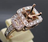 Women's rose gold ring semi mount round - ROUND mm SOLID Kt ROSE GOLD DIAMOND Wedding SEMI MOUNT SETTING ENGAGEMENT RING