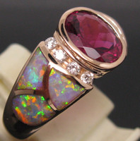 South American Women's Wedding 2.80CT SOLID 18K ROSE GOLD SPARKLY PINK RUBELLITE DIAMOND Wedding & OPAL RING