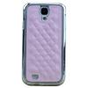 Deluxe Luxury Leather Chrome Hard Back Skin for Samsung I9500 cover Galaxy S4 leathre case DHL Ship