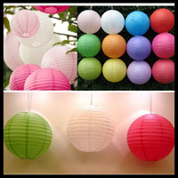 Wholesale Hanging Lanterns cm inch Chinese Paper Lantern colors wedding Party decorations White Lanterns Patio Hurricane Lanterns Outdoor