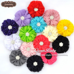 """NEW 2.5"""" Chiffon Flowers Ballerina Flowers With Starburst Button Without Hair Clip 15 COLOR 600PCS LOT QueenBaby"""