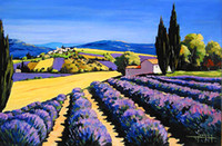 Wholesale Attractivel Lavender Farm Scenery Oil Painting Home Decoration Wall Art Oil Paints Pure Handmade