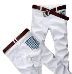 Wholesale Men s CONTRAST COLOR Causal Jeans Slim Fit Denim Trousers White