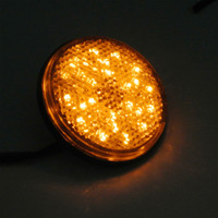 Universal amber led lights motorcycle - 25 OFF pieces yellow lens amber light LED Reflectors Round Turn Signal Light Universal Motorcycle Car Auto