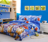 Wholesale blue finding Nemo pattern home textile bed in a bag full queen bedding set comforter quilt duvet covers sets