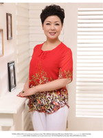 Wholesale 2013 Women s Summer Middle age Plus Size Mother Clothing Chiffon Shirt Short sleeve T shirts