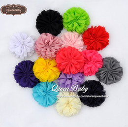New Ballerina Chiffon Flower Shabby Floral Newborn Photography Props Hair Accessories 15 colors 240PCS LOT QueenBaby
