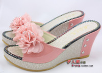 Wholesale 2013 womens fashion platformed wedge sandals flower diamond slippers womens wedge Moccasins Scuffs