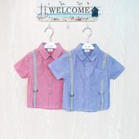 3T-4T Boy Spring / Autumn Boys 2013 Shirts Strap Striped Short-Sleeved Shirts Fashion Summer Style Tops Children's Clothing
