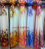 Wholesale Luxury women chiffon imitation silk long scarf beach scarves wraps Sarongs mixed designs colorful