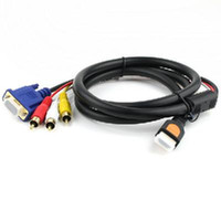 Wholesale Gold HDTV HDMI to VGA HD15 RCA Adapter Cable ft M
