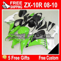 Wholesale 5 gifts for KAWASAKI NINJA green white ZX R ZX10R ZX R AJ7 Fairing