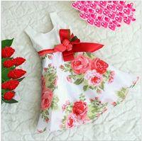 Wholesale Beautiful Ribbon Flower Girls Sleeveless Princess Dress Kids New Arrival Noble Satin Sundress