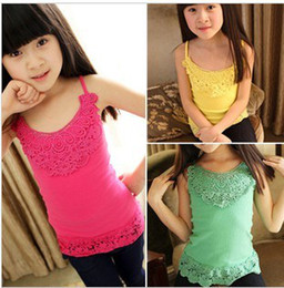 Wholesale Girls Lace Suspender T shirts Pretty Candy Colors Bottom T shirt Summer Kids Elastic Tank Top