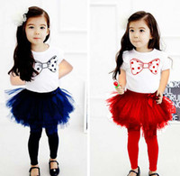 Wholesale Childrens Skirt Leggings Girl Suit Outfits Kids Sets Fashion Bowknot Printed Short Sleeve T Shirt