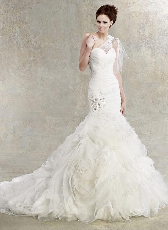 Mermaid Wedding Dresses One Shoulder Beaded Crystal Layered Ruffles Bridal Go