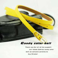 Wholesale Korean Ladies Skinny Candy Colors Fluorescent Fashion Belts square head buckle waistband