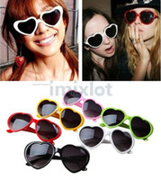 Wholesale 10pcs Heart shaped Sunglasses Candy Colors Men and Women General Sun Glasses Fashion Glasses SH