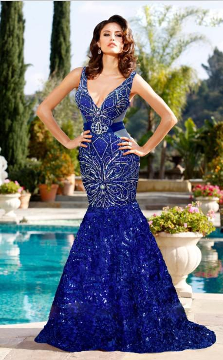 Sexy Royal Blue Aqua Sliver Pink Mermaid Party Dressses V Neck ...