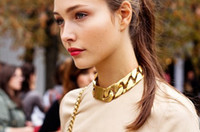 Wholesale Hot sale new gold twisted chunky chain fashion lady s polish statement choker necklace high quality