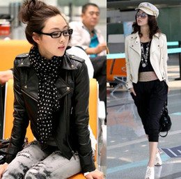 Wholesale New Women Punk Zip Rivet Lapel Blazer Coat PU Leather Motorcycle Moto Jacket