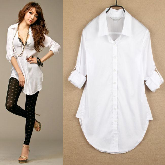 New Sexy Classic Womens Boyfriend Wind White Shirt Loose Long ...