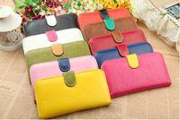 PU womens wallets - 2013 New fashion Womens contrast color long PU wallet lady girl burse purse clutch bag colors