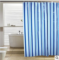 Wholesale Shower curtain waterproof thickening brief plain fashion blue stripe shower curtain x180cm
