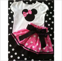 Wholesale Baby girls suit kids children pc set minnie t shirt skirt sylvia