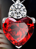 Wholesale Fashion Jewelry The heart star pomegranate red zircon pendant no chain MB A089