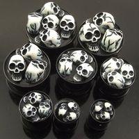 Wholesale 32pcs sizes D Skulls Acrylic Stash Ear Plugs AcrylicSkeleton Flesh Tunnel UV piercing jewelry