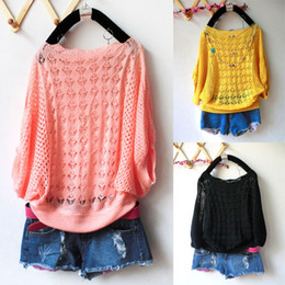 Wholesale New Womens Batwing Short Sleeve Casual Loose Hollow Knit Cardigan Tops Sweater Jumper Pullover