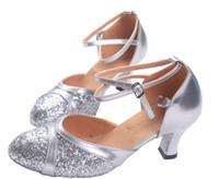 Wholesale Silver Gold women s Ballroom Modern Dance Shoes Classic Ladies Latin Walz Tango Salsa Samba Dancing Shoes
