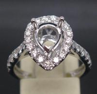 South American 0.60 - 5 mm pear shaped cut kt white gold ct diamond semi mount