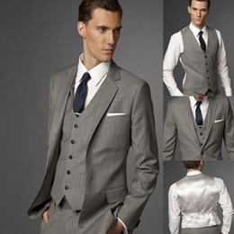 Side Slit Grey Groom Tuxedos Notch Lapel Groomsmen Men Wedding Suits(Jacket+Pants+Tie+Vest)H539