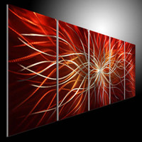 Wholesale Metal Modern Abstract Art Oil Painting art Sculpture Decor original art RED