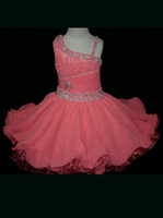 Wholesale One Shoulder Chiffon Cupcake Pageant Dresses For Girls Ruffled SKIRT Beaded SHORT PAGEANT GOWN ST547
