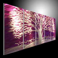 Wholesale metal painting wall home decor oil HUGE ABSTRACT ART Oil PAINTING LARGE wall decora artist handing blue blue blank made Purple tree
